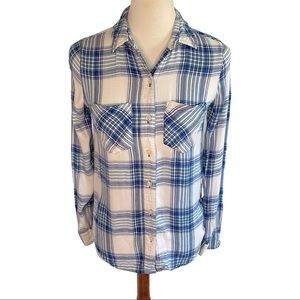 So Blue and White Plaid Button Down Top Size XS
